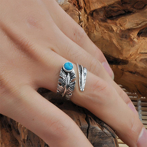 Image 5 - Real 925 Sterling Silver Rings For Men And Women Vintage Feather Ring With Natural Stone Jewelry Adjustable Opening Type