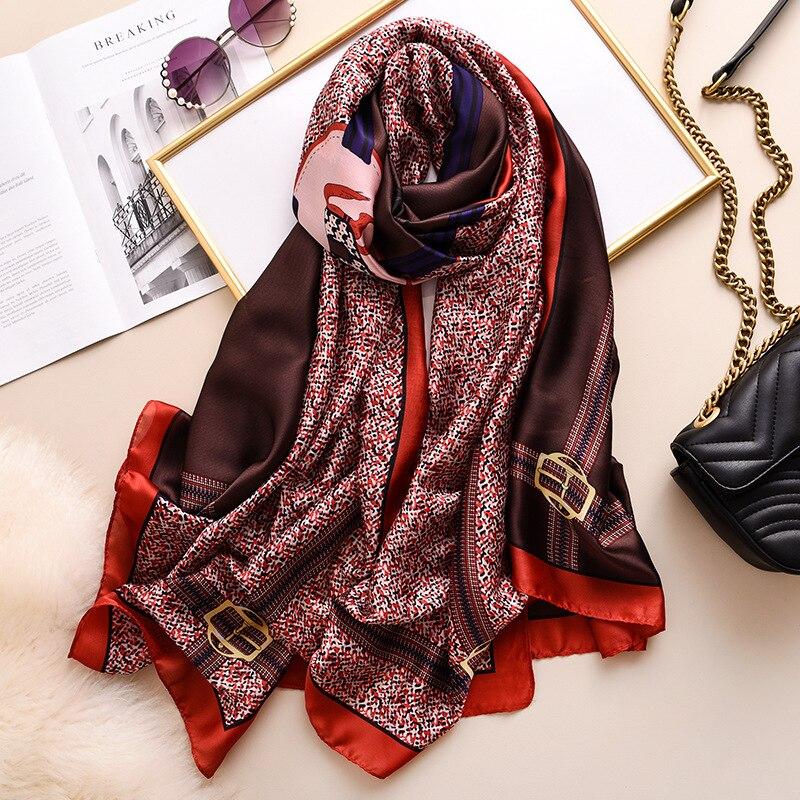 2020 Winter New Silk Scarf Women Brand Designer Long Shawls Wraps Large Pashmina Travel Scarves Femme Echarpe Patchwork Scarfs