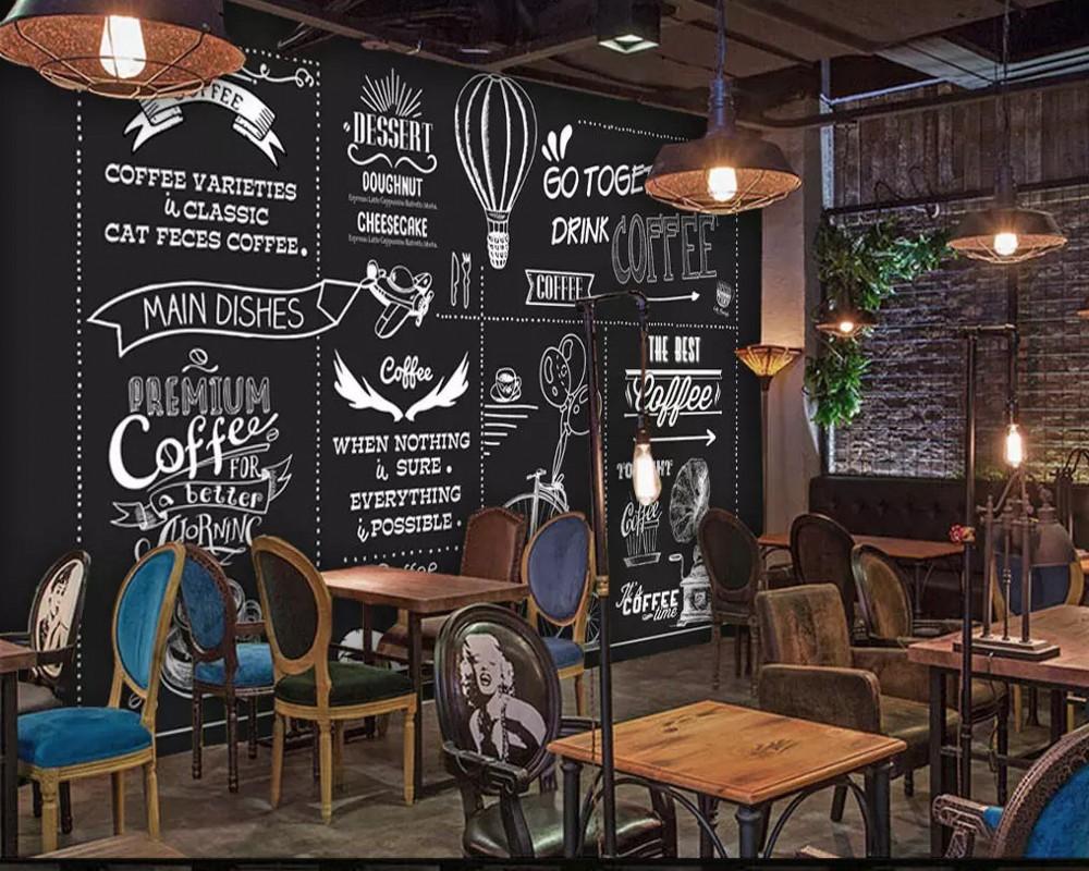 Drop Pengiriman Kustom Wallpaper Mural Eropa Dan Amerika Gaya Tangan Dicat Papan Tulis Kedai Kopi Kafe Restoran Lukisan Dinding Wallpaper Aliexpress