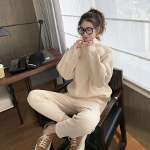 Women Casual Sets New Fashion Turtleneck Tops Sweatshirt Solid  Pants
