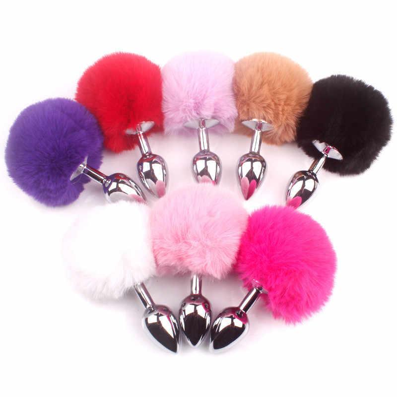 4 สีโลหะขนาดเล็กกระต่ายหาง Anal Plug สแตนเลสสตีล Bunny Tail Butt Plug Anal Sex Toys สำหรับผู้หญิงผลิตภัณฑ์สำหรับผู้ใหญ่เพศ