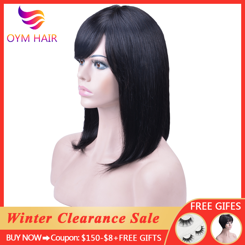 Brazilian Human Hair Wigs With Bang 150% Densty Short Bob Wigs With Bangs Full End Remy Hair