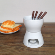Ceramic Chocolate Fondue Set with Forks-Tea Light Porcelain Melting Pot
