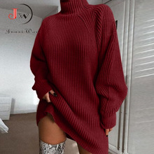 Women Turtleneck Oversized Knitted Dress Autumn Solid Long Sleeve Casual Elegant Mini Sweater Dress Plus Size Winter Clothes