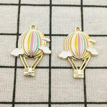 10 pçs esmalte balão de ar quente charme jóias acessórios brinco pingente pulseira colar encantos diy encontrando 23x30mm