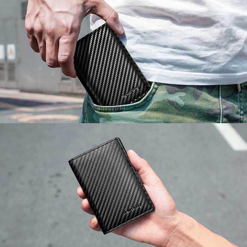 NewBring Carbon-fibre-Look skórzane etui na karty kredytowe RFID blokowanie pokrowiec w stylu portfela prawo jazdy torebka