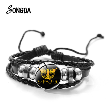 Senate and People of Rome SPQR Glass Art Picture Charm Bracelet Retro Punk Roman Empire Multilayer Braided Leather Men Bracelet image