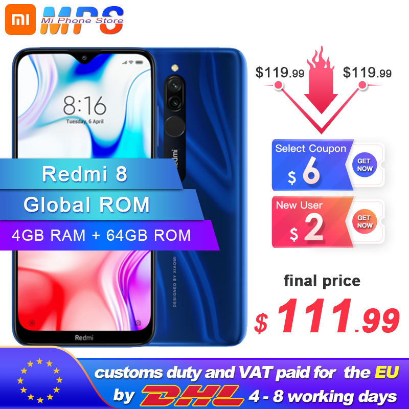 Global ROM Xiaomi Redmi 8 4GB 64GB Snapdragon 439 Octa Core 12MP Dual Camera Mobile Phone 5000mAh