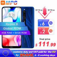 Globalny rom Xiaomi Redmi 8 4GB 64GB Snapdragon 439 octa core 12MP podwójny aparat telefon komórkowy 5000mAh