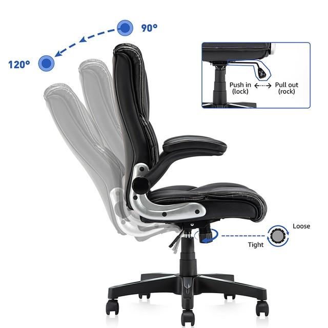 Yamasoro Office Armchairs Executive Computer High Back Adjustable Ergonomic Comfort Desk Chair With Wheel  Flip-up Arm Gas Lift 4