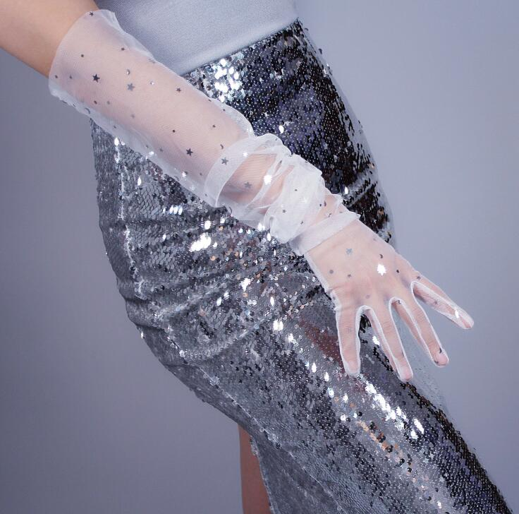 Women's Sexy Shiny Star Transparent White Mesh Glove Female Spring Summer Sunscreen Long Glove R1863