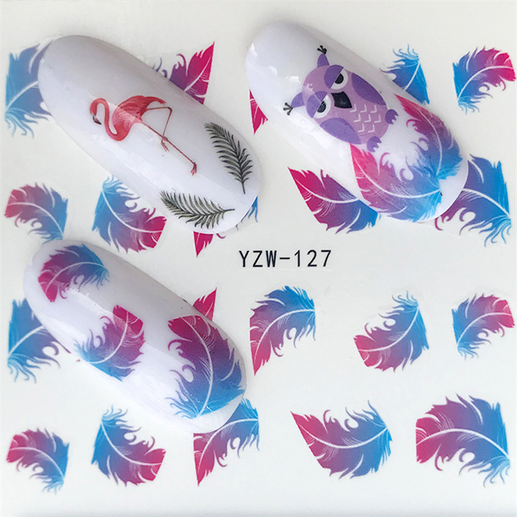 New Style Nail Sticker Yzw127 Feather Nail Sticker Environmentally Friendly Breathable Nail Decal