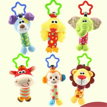 1Pc Baby Kids Bearoom Rattle Toys Cartoon Animal Plush Hand Bell Baby Stroller Crib Hanging Rattles Toys Infant Bed Hanging Gift