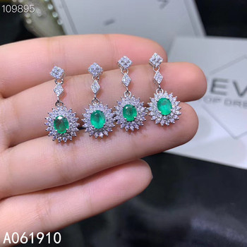 KJJEAXCMY boutique jewelry 925 sterling silver inlaid Natural Emerald ladies earrings fine support detection popular fashion