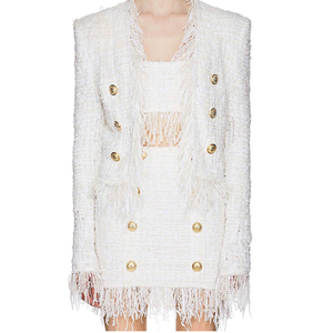 Image 2 - HIGH STREET Newest 2020 Fall Winter Baroque Designer Jacket Womens Lion Buttons Tassel Wool Blend Tweed Jacket Coat