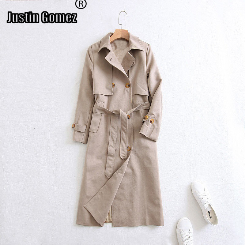 Women's Fall/winter Lapel Double-breasted Overcoat Long Knee Length Slim Thin Outwear Basic Essential   Trench   Coat With Belt