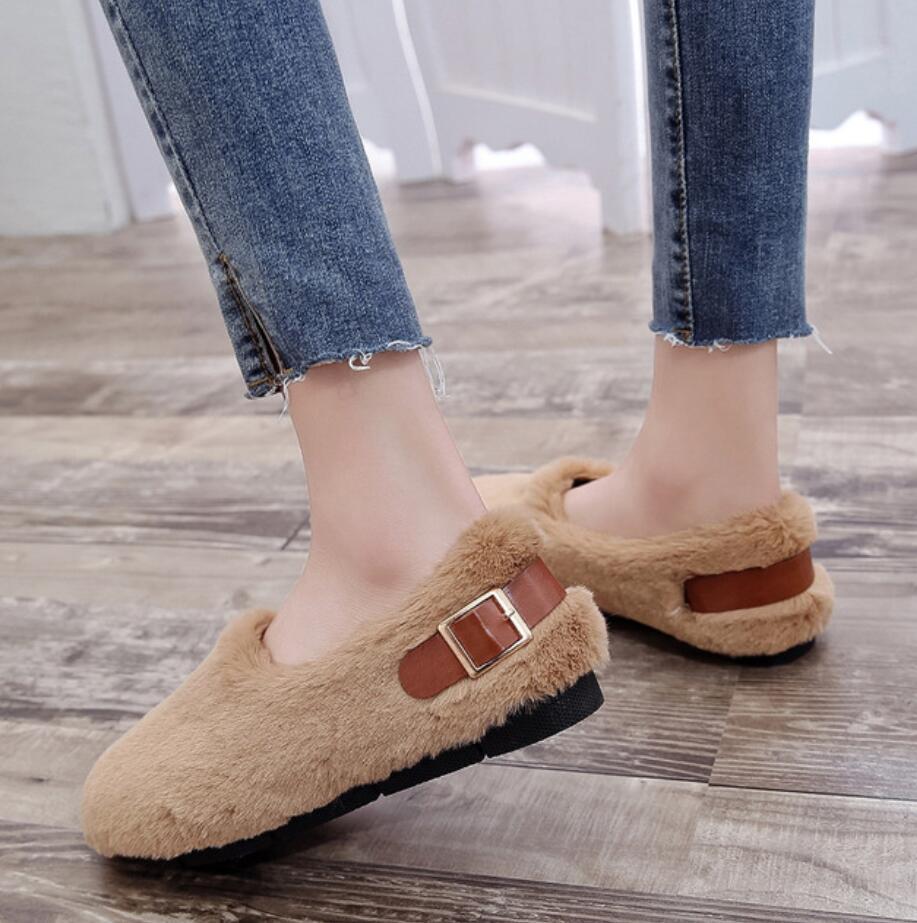 long fur flats women slip on winter shoes with plush flat heel moccasins ladies Belt buckle fur mules designer furry loafers 44