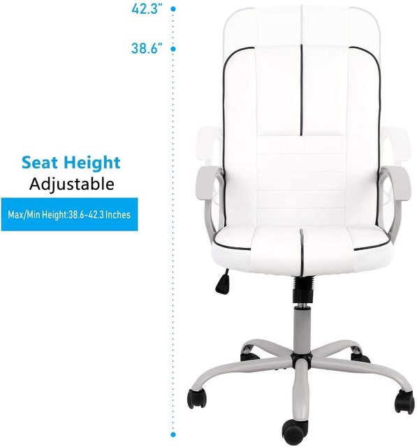 office executive chair ergonomic Leather computer game Chair Internet chair for cafe household chair White 6