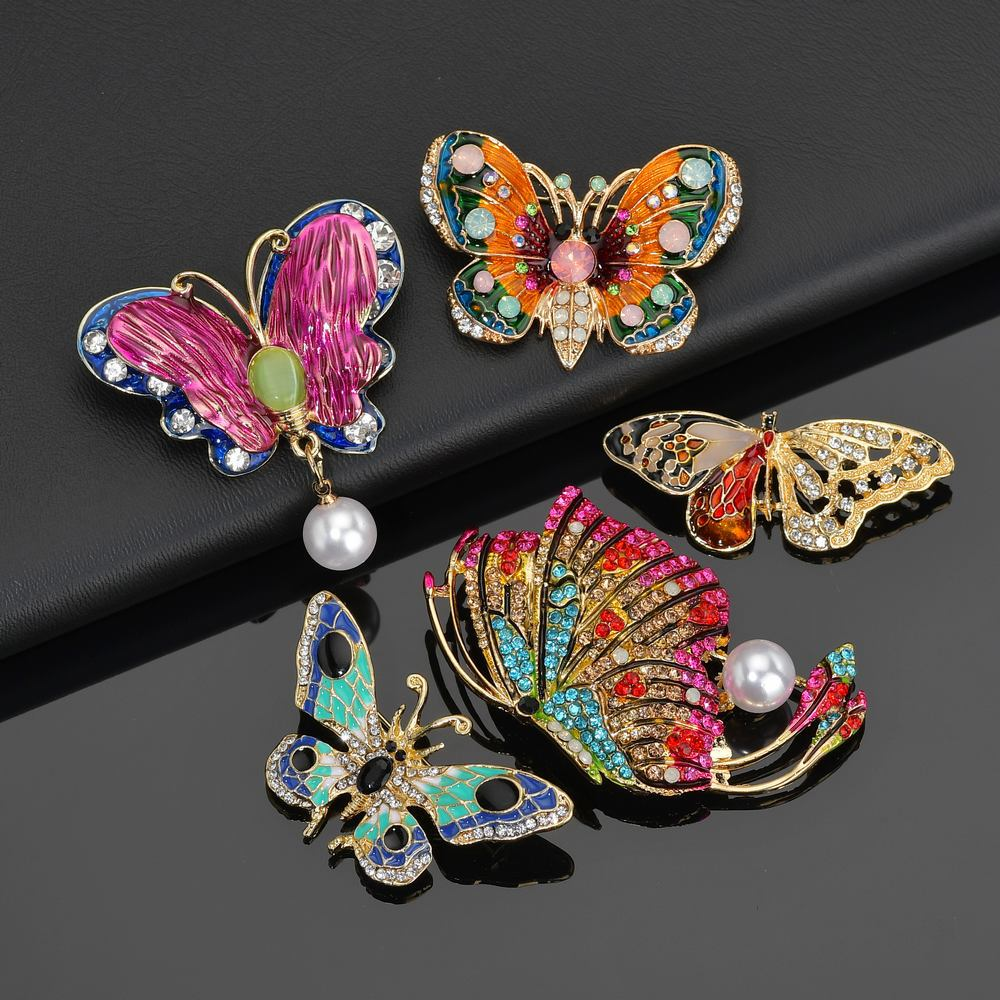5 Styles Butterfly Brooch For Women Rhinestone Metal Colorful Wing Brooch Pin Badge 2019 Animal Enamel Pins Pearl Metal Badge in Brooches from Jewelry Accessories