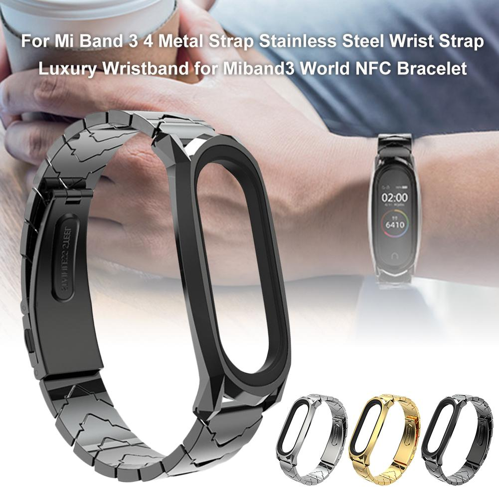 For Mi Band 3 4 Metal Strap Stainless Steel Wrist Strap Luxury Wristband For Miband3 World NFC Bracelet