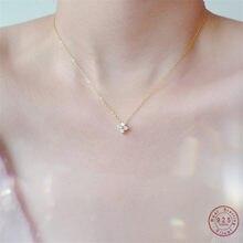 925 argent Sterling européen Simple cristal fleur pendentif clavicule chaîne collier femmes classique tempérament bijoux de mariage