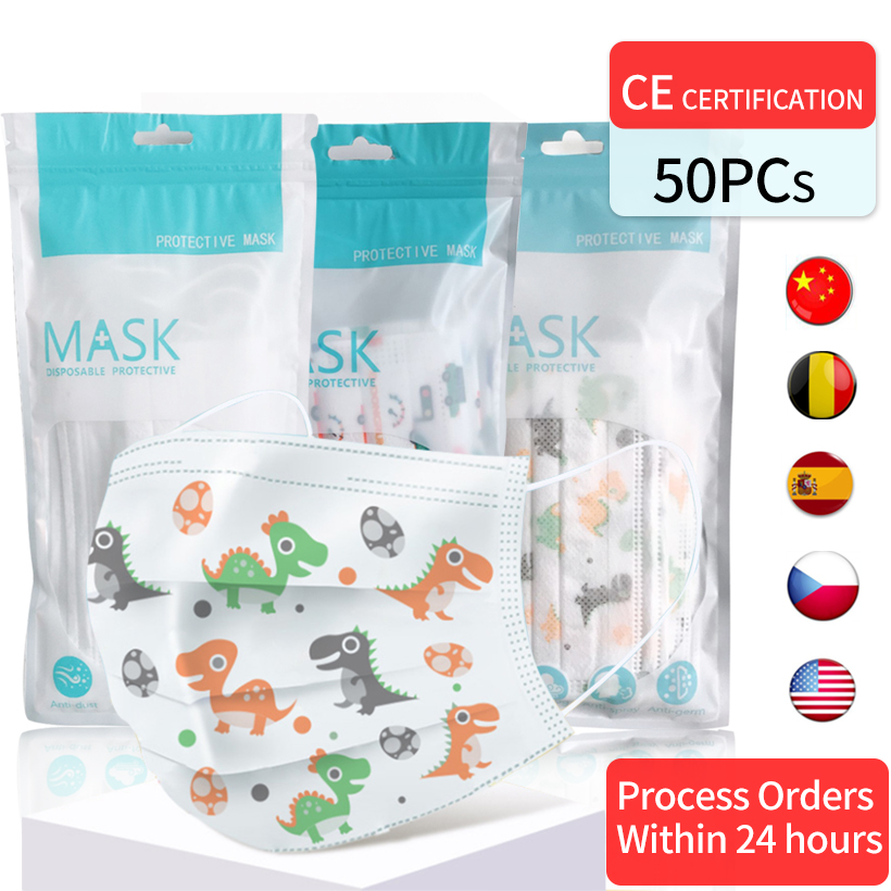 50pcs/10pc Disposable Children's Mask Cartoon Dinosaur Pattern Print Anti-fog Mouth Masks 3 Layer Spunlace Anti-pollen Dust Mask
