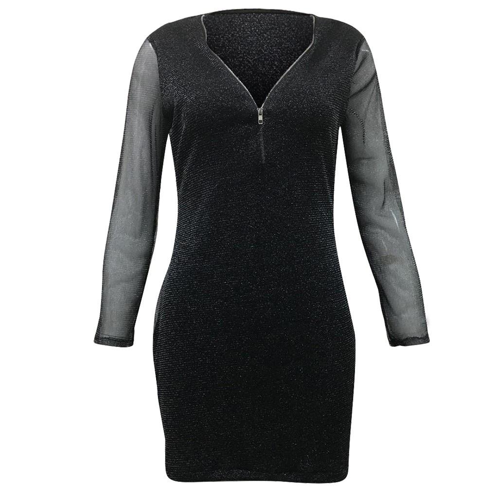 V Neck Sexy Women s Dresses Solid Mesh Zipper Long Sleeve High Waist