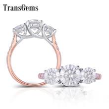 TransGems 14K 585 שני טון זהב מרכז 2CTW F צבע Moissanite אירוסין טבעת עם מבטאים יום תכשיטי מתנות