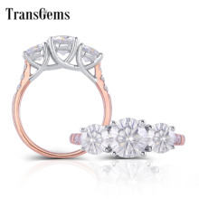 TransGems 14K 585 Two Tone Gold Center 2CTW F Color Moissanite Engagement Ring with Accents Fine Jewelry Anniversary Gifts