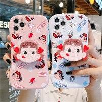 Japão bonito dos desenhos animados doces leite menina caso de telefone para apple iphone 11 12 pro 6 7 8 plus x xs xr max mini se2020 arco silicone capa