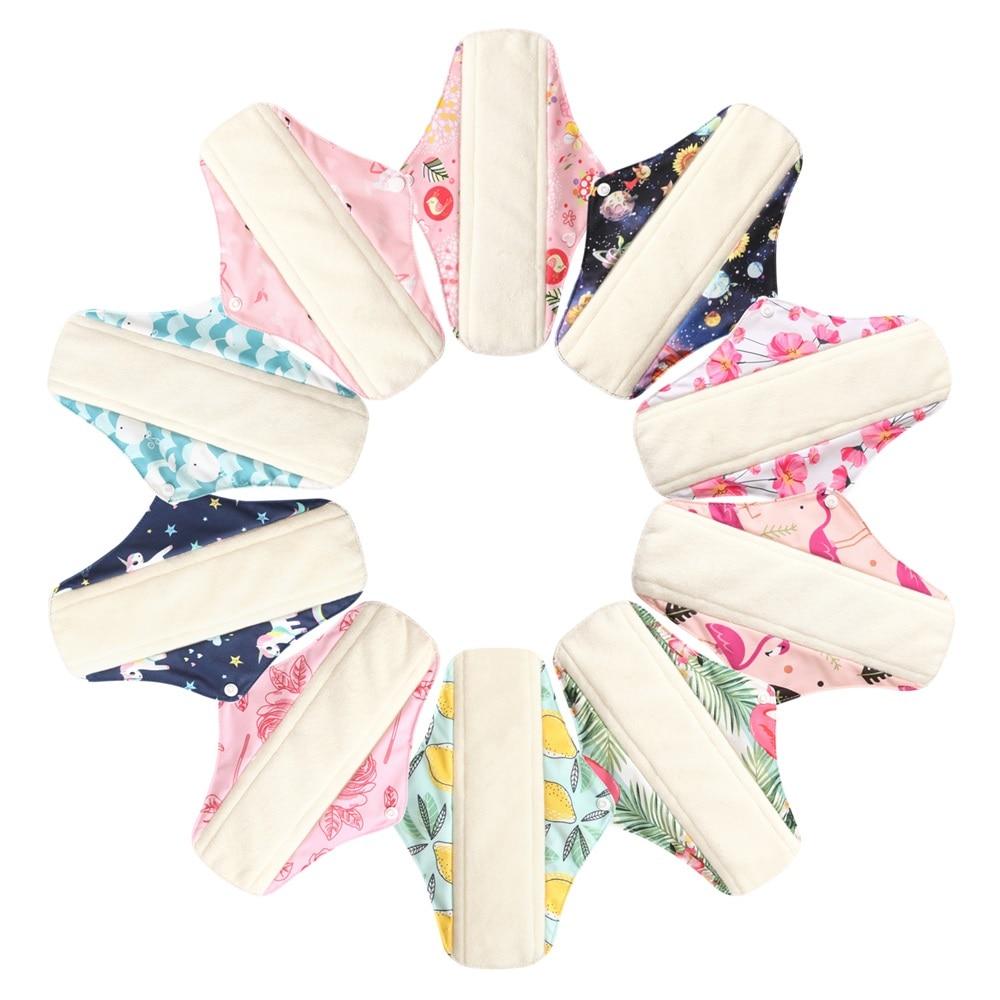 10pcs Reusable Washable Sanitary Pads Toallas Sanitaria Cloth Pad Character Feminine Higiene Women Mestryal Pads Panty Liners