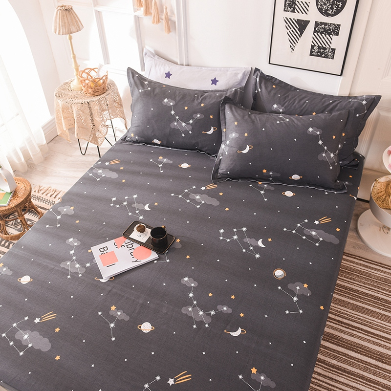 (New On Product) 1pcs 100% Cotton Printing bed mattress set with four corners and elastic band sheets(pillowcases need order) 3
