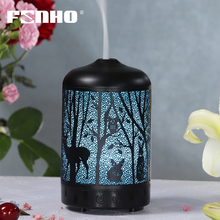FUNHO Electric Air Humidifier Iron Ultrasonic Mist Maker Aroma Essential Oil Diffuser Aromatherapy For Home Office LED Light