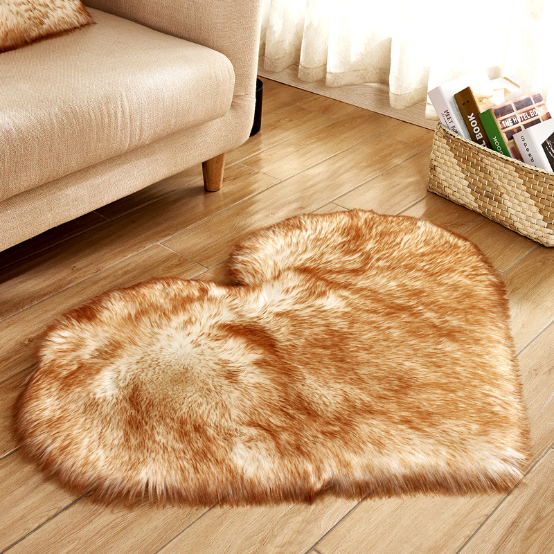 Love Heart Solid Carpet Faux Fur Imitation Wool Rug Floor Area Rugs Artificial Sheepskin Shaggy Carpets For Living Room Bedroom