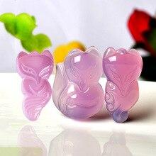 Натуральный агат розовый халцедон маленький кулон с лисичкой для мужчин и женщин рекрут Персиковый Цветок Ван Свадьба Любовь Гибискус нефритовый кулон с лисичкой