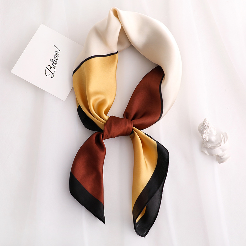 2020 New Women's Silk Scarf Fashion Color Block Printed Bandana Lady Square Scarves Soft Bags SCARF Shawl