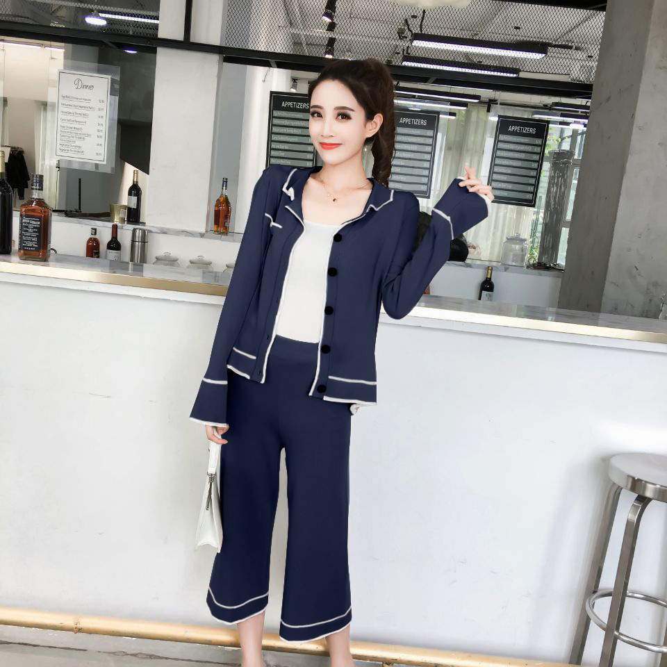 Autumn Viscose Liangsi Knitted Contrast Color Cardigan + Loose Pants Set Home Wear