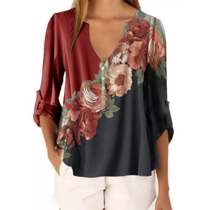 Vintage Floral Printed Chiffon Women Blouse Shirt 2020 Autumn Casual V-Neck Long Sleeve Tops Ladies Loose Large Size 5XL Blouses