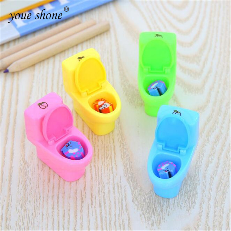 1Pcs/lot  Korea Stationery Toilet Shaped Plastic Pencil Sharpener Cute For School Office Supplies Gifts