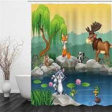 цена на Sholisa Animal and Plant Scenic Bath Curtain Bathroom Environment-friendly Polyester Bath Curtain Bathroom Curtain Printed Bath