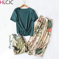Conjunto de pijamas de verano para mujer, ropa de dormir con estampado Floral informal, pijama de Color contrastante, Tops, pantalones hasta la pantorrilla, ropa de casa