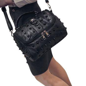 Women Bags Split Sheep Leather Messenger Rivet Skull Tote Handbag Travel Crossbody Satchel Purse Top Handle Bags sweet striped and rivet design women s satchel