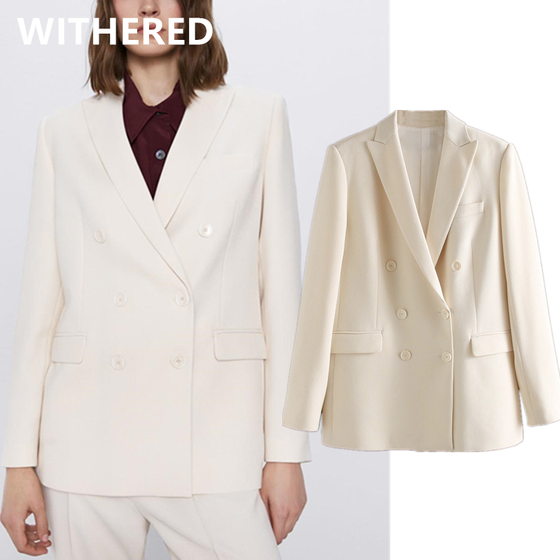 Withered Ins Blogger Vintage England Double Breasted Blazer Feminino Blazer Women Blazer Mujer 2020 Women Blazers And Jackets
