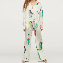 KUMSVAG 2020 Summer Women Print Loose Two-piece sets Suits Long Sleeve Blouses