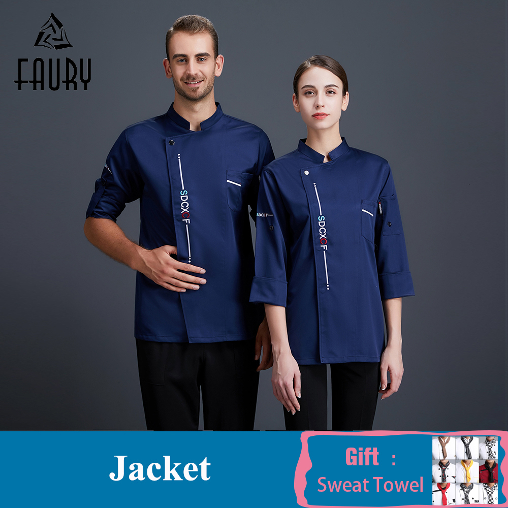 Unisex Chef Uniform Long Sleeve Food Service Catering Canteen Restaurant Hotel Cake Bakery Kitchen Clothing Lady Chef Work Wear