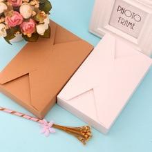Boîte à enveloppe brune et blanche, emballage pour bonbons et bonbons, boîte pour cookies cadeaux, Carton