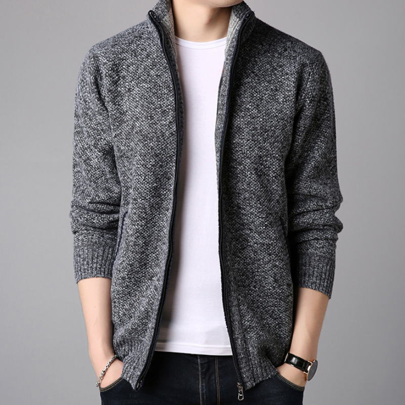 Men's Knitted Jacket Cardigan Coat Cashmere Woolen Zipper Warm Pullover Sweaters Man Cardigans 2019 Fashion Black Plus Size 3XL