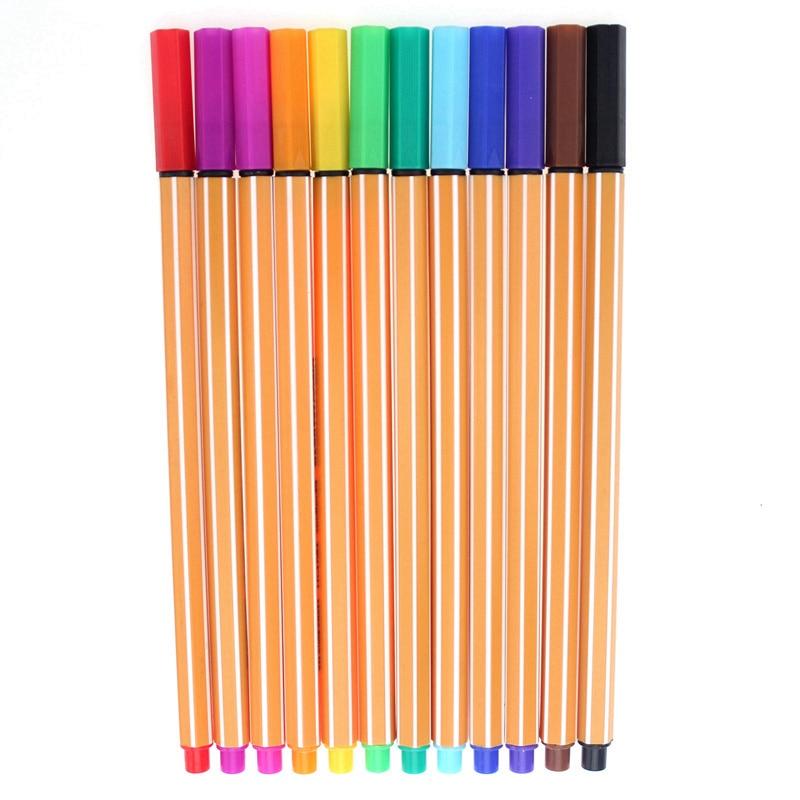 YDNZC 12Colors Marker Pen Fine Tip 0.4mm Slim Plastic Fineliner Hook Line Pen For Sketch Painting Drawing School Art Supplies