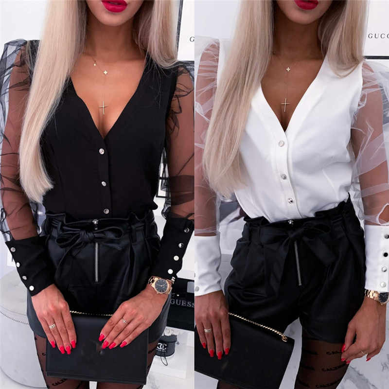 New Fashion 2020 Spring Women V-Neck Blouses Tulle Mesh Ruffle Long Puff Sleeve Shirt Solid Lady Blouse Autumn Women Streetwear
