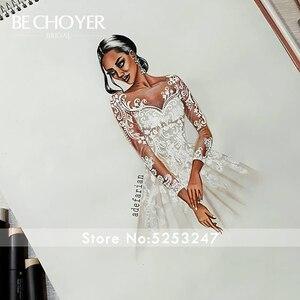 Image 5 - Vestido de Noiva Sweetheart Long Sleeve Wedding Dress Fashion Appliques A Line Court Train Princess Bride Gown BECHOYER K182